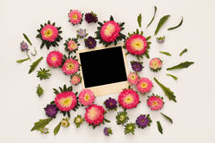 Top view of beautiful pink flowers and empty photo frame Stock Images
