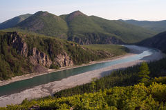 Top view of the beautiful river in the mountains. River Omulevka. Magadan Region. Russia Royalty Free Stock Photos