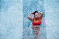 Top view of a beautiful sexy adult asian woman in the swimming pool Stock Photography
