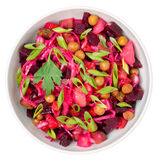 Top view of  beetroot salad Russian Vinaigrette or Vinegret in a Royalty Free Stock Photography