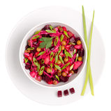 Top view of  beetroot salad Russian Vinaigrette or Vinegret in a Royalty Free Stock Images