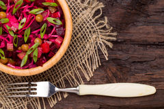 Top view of  beetroot salad Russian Vinaigrette or Vinegret in a Stock Photos