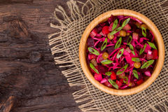 Top view of  beetroot salad Russian Vinaigrette or Vinegret in a Royalty Free Stock Photo