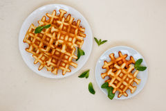 Top view of Belgian waffles on beige table. Belgian waffles on white plates garnished with mint leaves on a beige background, top view Stock Images