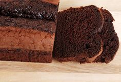 Top view belgium chocolate cake loaf focus on slic Royalty Free Stock Photography