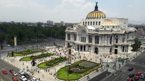 Bellas Artes Palace in Mexico City. Top view of the Bellas Artes Palace in downtown Mexico City Royalty Free Stock Image