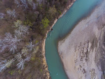 Top view on the bend of the river, forest and beach. Top view on the bend of the river, forest and pebble beach stock photography