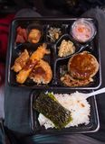 A top view of a bento set. stock photography