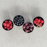 Top view berries: raspberries, cherry, gooseberry, currant in four bowls. Stock Image