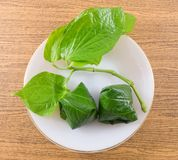 Top View of Betel Leaf Wrapped Bite Size Appetizer Royalty Free Stock Photography