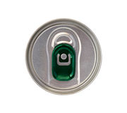 Top view of beverage can with green ring pull isolated on white Royalty Free Stock Photo