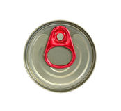 Top view of beverage can with red ring pull isolated on white Royalty Free Stock Images