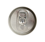 Top view of beverage can with silver ring pull isolated on white Stock Photos