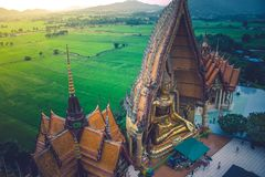 Top view big golden Buddha statue with green natural and sunlight in vintage style at Thum Sua Temple or Tiger Cave Temple. royalty free stock image