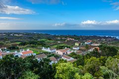 Biscoito town with vineyards. Top view of Biscoito town with vineyards in Terceira island royalty free stock photo