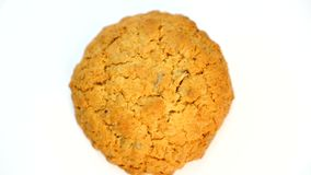 Top View Biscuit Cookie Isolated on White.  stock video footage