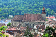 Top view of Black Church and Brasov old town Stock Image