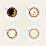 Top view of black coffee cup. Isolated on white background. Photo-realistic vector Stock Image