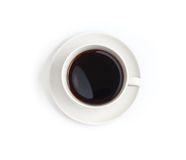 Top view of black coffee cup isolated stock image