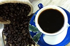 Top view black coffee on the table royalty free stock photos