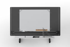 Top view of black drawing table with tools , clipping path inclu Stock Images