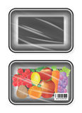 Top view of Black polystyrene packaging mockup with fruite inside. A top view of Black polystyrene packaging mockup with fruite inside Royalty Free Stock Photos
