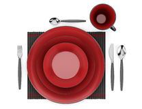 Top view of black and red table setting with cup isolated Stock Photo