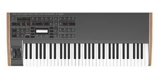 Top view of black synthesizer isolated on white Stock Photo