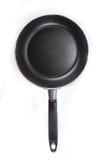 Top view of black teflon pan isolated on white Stock Photos