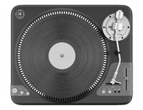 Top view of black turntable isolated on white Royalty Free Stock Image