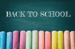 Top view of blackboard with text: BACK TO SCHOOL Stock Images