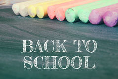 Top view of blackboard with text: BACK TO SCHOOL Stock Photo