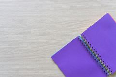 Top view of Blank notebook on wood background with copy space stock photo