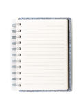 Top view blank spiral notebook isolated Royalty Free Stock Photos