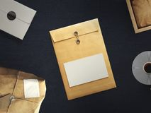 Top view of blank white paper sheet with office tools. Workspace mock up Royalty Free Stock Photos