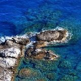 Top view on blue clear sea at sunny day Stock Image