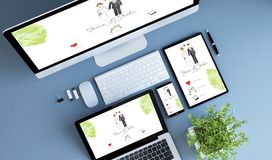 Top view blue devices wedding website. Blue devices top view wedding website 3d rendering stock photos
