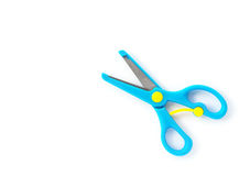 Top view blue handcraft scissors for children on white. Top view blue handcraft scissors for children on a white background stock photos
