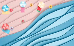 Free Top View Blue Sea And Beach Paper Waves With Umbrella Beach, Beach Blanket And Fruits Rubber Ring. Paper Cut Style Stock Image - 116235841