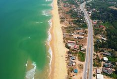 Top View of Blue Sea and Brown Sand Royalty Free Stock Photography