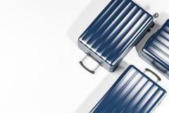 Top view of blue suitcases royalty free stock photography