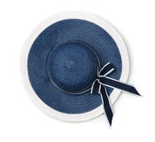 Top view of  blue summer straw hat Stock Photography