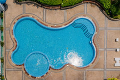 Top view of blue swimming pool royalty free stock photo