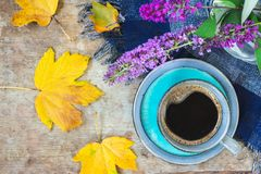 Top view of a blue cup of coffee, blue checkered scarf, purple flowers in a vase and golden leaves on wooden background royalty free stock image