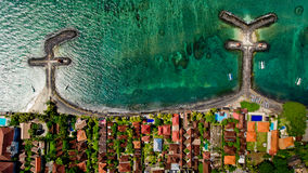 Top view of the blue water coast line in Candidasa Beach. Bali, Indonesia stock photo