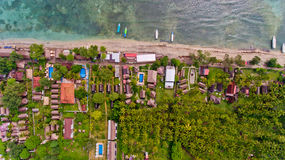 Top view of the blue water coast line in Gili Air island. Top view of the blue water coast line in Gili Air island, Bali, Indonesia royalty free stock photos