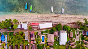 Top view of the blue water coast line in Gili Air island. Bali, Indonesia royalty free stock image
