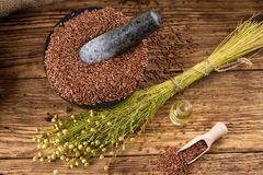 Top view on board with flax seeds plants and oil Royalty Free Stock Image