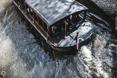 Top view of boat gondola ship for tourism on river.   through canal waters of Venice Italy. service of travel in city and making e. Xcursion for tourists , boad stock images