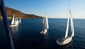 Top view of the boats during of sailing regatta. Royalty Free Stock Photography